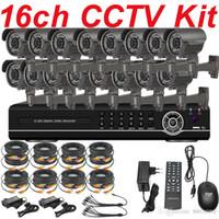 al por mayor sony canales dvr de seguridad-Top vender mejor kit de circuito cerrado de televisión de todo el sistema cctv conjunto de canales 16 canales calidad instalar Sony 700TVL video de seguridad de la cámara lente de zoom de 16 canales D1 DVR HDMI