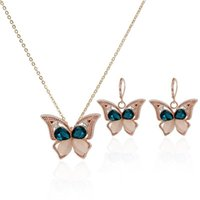 Wholesale 2015 Rose Gold Plated Opal Jewelry Sets With Crysatl Butterfly Shape Necklace and Earrings Woman Jewelry For Women Sets JS0086