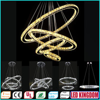 Modern art deco rings - Modern LED Crystal Chandeliers Pendant Lights Ceiling Hanging Lighting Fixtures with AC110 V LED SMD Round Ring Diamond CE FCC ROHS