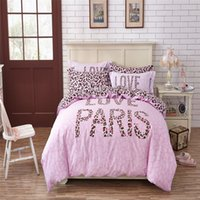 leopard print bedding - Fashion Leopard Paris Design Bedding pc Duvet Sets without filler Pink Leopard Print Duvet Cover For Girls Queen Twin Size