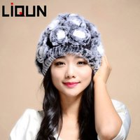 Wholesale 2014 Rabbit Fur Winter Hats Adult Women Casual Short Knitted Hat Female Fashion Autumn And Winter Rex Rabbit Fur Hat LQ11015