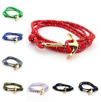 leather bracelets for men - 2016 Anchor bracelets Infinity bracelet Wrap Rope Charm Fish Hook With Paracord For Men And Women Miansai Style fashion jewelry