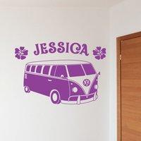 art buses - custom made Name Personalised Bus Vinyl Wall Sticker Art Decal Mural for Kids Room