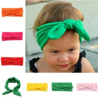Wholesale New Fashion Baby Solid Cotton Hair Bow Headband Toddler Handmade Stretch Headwraps With Bowknot Boutique Cute Hair Accessories