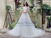 Cheap Real Picture Plus Size Lace Tulle Princess Wedding Dresses 2016 V Neck Court Length Wedding Gowns Bridal Gowns IN Stock