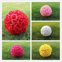 Wholesale 15cm Wedding Rose balls Silk Flower Kissing Balls Hanging rose Balls Wedding Party Decorations Artificial rose bouquet balls