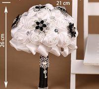 Wholesale Handmade Bridal Flower Wedding Bouquet White Rose Black Diamond New Arrival pc B32CJP