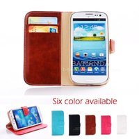 Wholesale luxury leather credit card holder flip cell phone s3 case cover for samsung galaxy s iii i9300