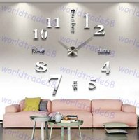 Wholesale Home decoration wall clocks Big Digital mirror wall clock Modern design large size wall clocks DIY wall sticker unique gift