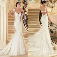 Wholesale 2016 Luxury Designer White Lace Mermaid Wedding Dresses Spaghetti straps Applique Court Train Pleated Bridal Wedding Dress Gowns