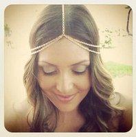 Wholesale 2016 Cheap Summer Bridal Hair Accessories Fashion Metal Alloy Bohemian Bohemian Women Hair Jewelry Forehead Head Chain CPA186