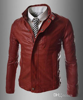 New hot sale Men Stand Collar Motorcycle PU Leather Coat Jacket Slim Fit Outwear Burgundy