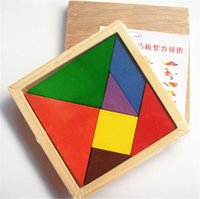 Wholesale Colorful Tangram Children Mental Development Tangram Wooden Jigsaw Puzzle Educational Toys for Kids intellectual Building Blocks free DHL
