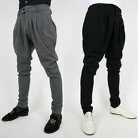 Wholesale Fashion Mens Korean Casual Pants Slim Fit Long Trousers Slacks Baggy Harem Blacks Greys Pleated Size