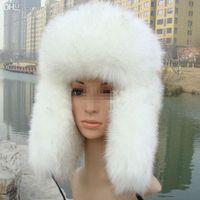Wholesale Fake fur fox fur hat Ushanka Russian Cossack hat leather bomber whole fox fur earmuffs thick warm winter