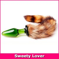 Wholesale Anal Sex Toy CM Wild Cat Tail Anal Plug New Crystal Glass Fox Tail Butt Plug For Women Adult Sex Toy
