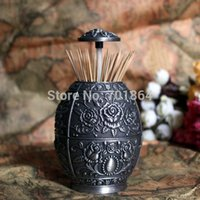 Wholesale Vintage Home Decor Egg Shaped Automatic Toothpick Holder Rose Flower Carved Metal Art Table Decoration