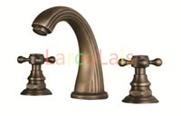 antique brass bathroom faucet - Antique Inspired Solid Brass Deck Mount Two Handles Bathroom Basin Sink Faucet Bath Tub Mixer Taps