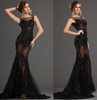 Wholesale new arrival burgundy black prom dresses D flora appliques beaded sexy sheer illusion mermaid elie saab evening dresses