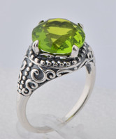Wholesale 925 silver gemstone sexy peridot commitment engagement ring ring style wedding jewelry