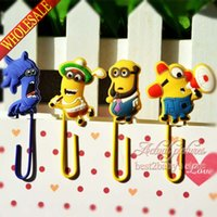 Wholesale 4pcs set Cute Minions Despicable Me DIY Bookmarkers Cartoon Paperclips Kids Learning Filing Supplies for Books Pages Holder Kids Gifts Toys