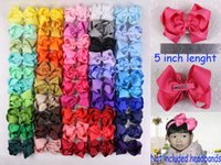 Wholesale New double hairpin Grosgrain polyester hair accesorries baby girl child boutique solid hair bows WITH Clips inches B