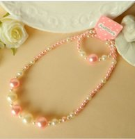 baby pearls bracelet - new Children girl necklace suits Baby pearl bracelet necklace Pink white necklace bracelet sets
