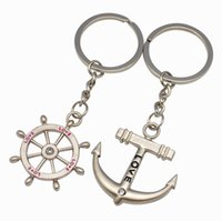 anchor keychain - Platinum Tone Valentine s Day Gift Zinc Alloy Enamel Anchor and Helm Keychain Colorful Size about mm long mm wide mm thick