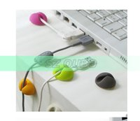 Wholesale 100Pcs Clip Tidy Wire Drop Lead USB Charger Cord Holder Cable Wire Organizer by HK post