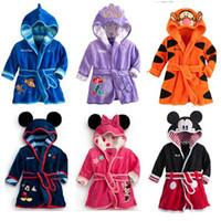 Wholesale Children s Towels Robes Cartoon Coral Fleece Homewear Pajamas Hooded Winter Night Robes Bathrobe Size cm cm for Baby Boys Girls