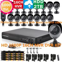 Wholesale DEFEWAY with G HDD16CH D1 H P P DVR NVR Hybrid DVR x TVL IR CUT Outdoor Indoor Cameras