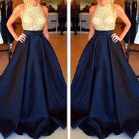 celebrity style dresses - New Style Halter Celebrity Occasion Gowns Formal Dark Navy Blue Satin Evening Dresses Long Gold Beading Party Prom Dress Sexy Backless