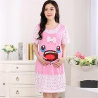 Wholesale 2015 New Summer Pregant Women Plus Size Sleepwear Dress Maternity Nursing Clothing Big Eyes Printed Cotton Nightgown CL0207