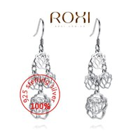 Wholesale 015 ROXI Sterling silver Fine Jewelry Silver AAA CZ Modelling Beauty Rose drop Earrings Party Christmas Gifts