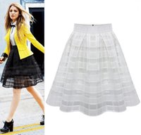 Wholesale 2016 summer new style women s sexy skirts women striped hollow out full skirt swing skirt ladies black white plus size xl xl