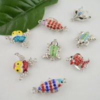 Wholesale DIY Sets Mix Style Silver Tone Animal Shape Rhinestone Strong Magnetic Clasp Jewelry Finding