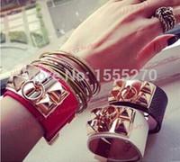 Wholesale Hip hop H Charm Leather bracelets Bangles Wide CDC men and women punk rivet bracelet Bangles Fashion jewelry