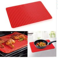 Wholesale Red Pyramid Pan Nonstick Silicone Baking Mat Mould Cooking Mat Oven Baking Tray Kitchen tools with box wholesales