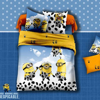 Wholesale 100 cotton bedding set Despicable me cartoon design bedding set sheet and fitted two style Christmas gives the gift of children