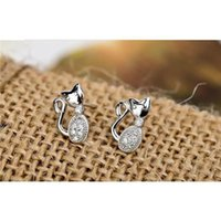 allergy free cats - 925 Sterling Silver Cat Shape Allergy Free Ear Stud Glistening Stone Inlaid Jewelry GNE0273 GNE0316