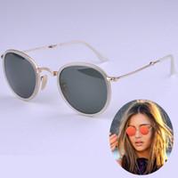 Wholesale 2015new arrival mirror metal frame folding round sunglasses men women uniex sun glasses brand designer glasses mm freeshipping