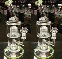 bending stainless pipe - 2016 New green Glass Bongs Water Pipes Smoking Pipe Honeycomb Ash Catcher with Dome Percolator Stainless Glass Water Pipes Recycler Oil Rigs