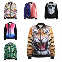 american flag smiley - FG new Fashion Style zipper Design Animal tiger skull American flag smiley green leaves printed D Print Coats Jackets of men