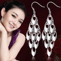 Wholesale 2015 New Sterling Silver Tassels Peacock Feather Drop Earrings For Women Fine Wedding Jewelry