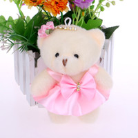 bear bow accessories - mixed color diamonds baby girls plush toys flower bouquets material accessory mini model cute bow teddy bears
