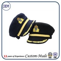 artificial fur material - New Adult Fancy Dress Costume Peaked Skipper cotton material Sailor Navy Captain Boating Hat Cap