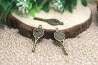 antique tennis racket - 20pcs Tennis Racket Charms Antique bronze Tone Two Sided Great Detail Tennis Racket pendants charms x11mm