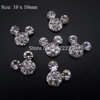 Wholesale 10pcs Mickey head nail design rhinestones glitter for nail decorations DIY scrapbooking charms AM36