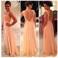 peach bridesmaid dresses - Best Selling Sheer Bateau Neck See Through Nude Back Top Lace Long Chiffon Peach Bridesmaid Dress Maid of Honor Dress Wedding Party Dress