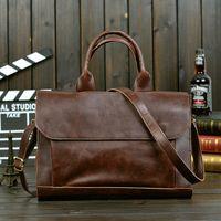 Wholesale HOT new men s messenger bags men genuine leather bag brand luxury high quality laptop briefcase shoulder bag for Men